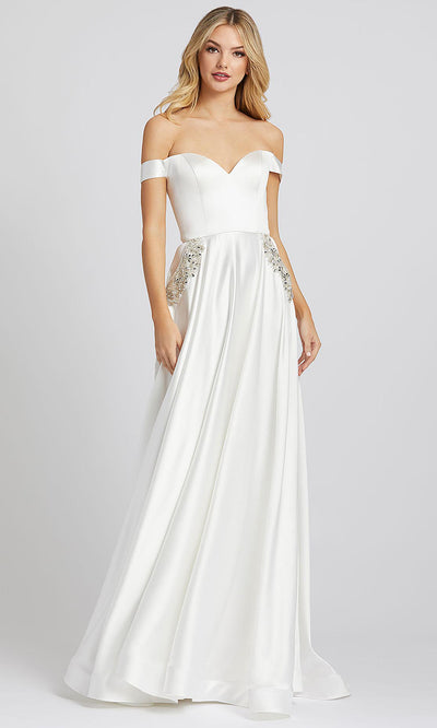 Mac Duggal - 55273I Off Shoulder Jeweled Pocket A-Line Dress In White & Ivory