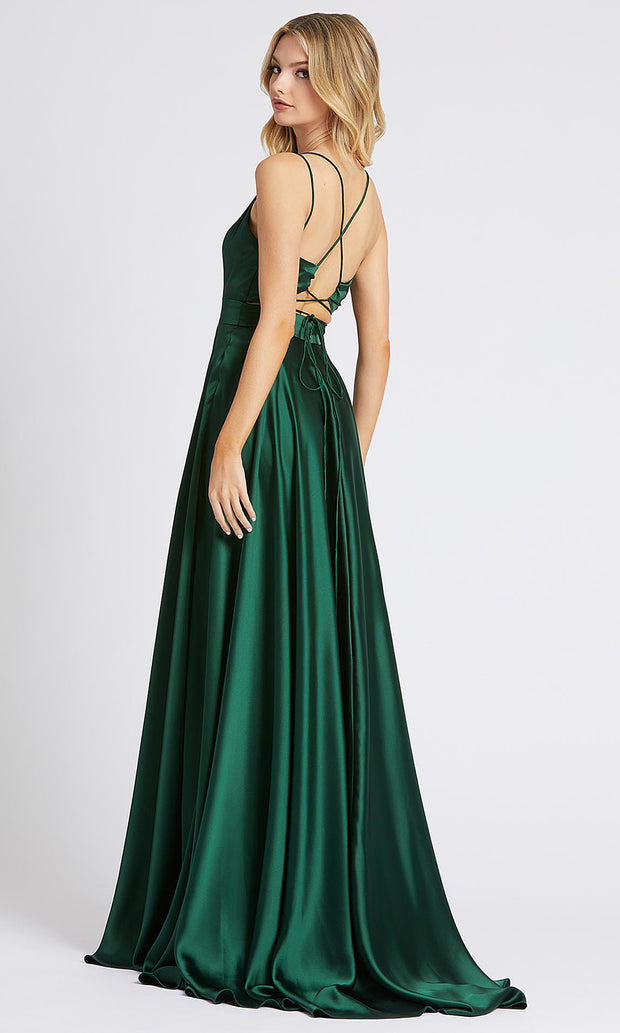 Mac Duggal - 55278I Sleeveless V Neck High Slit Silk Gown In Green