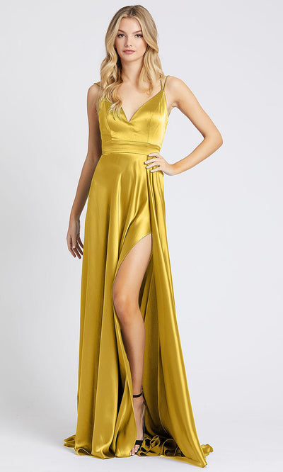 Mac Duggal - 55278I Sleeveless V Neck High Slit Silk Gown In Yellow