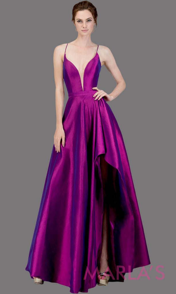Simple Long taffeta purple semi ball gown w high slit and straps. This flowy  formal ... 519632c06