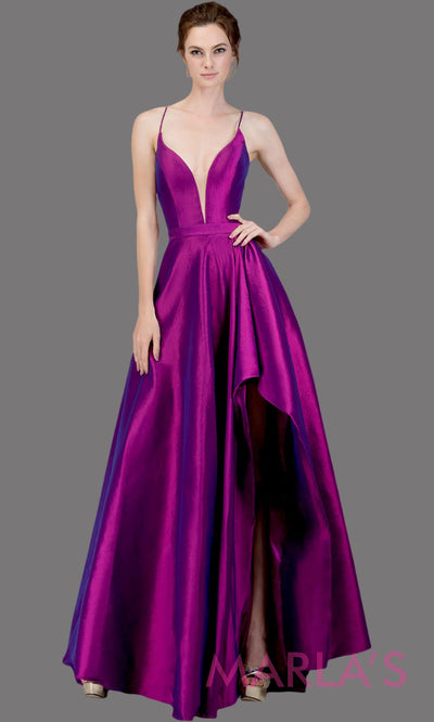 Simple Long taffeta purple semi ball gown w high slit and straps. This flowy formal gown is perfect as a purple prom dress, wedding reception or engagement dress, formal wedding guest dress, purple indowestern evening gown. Plus sizes avail