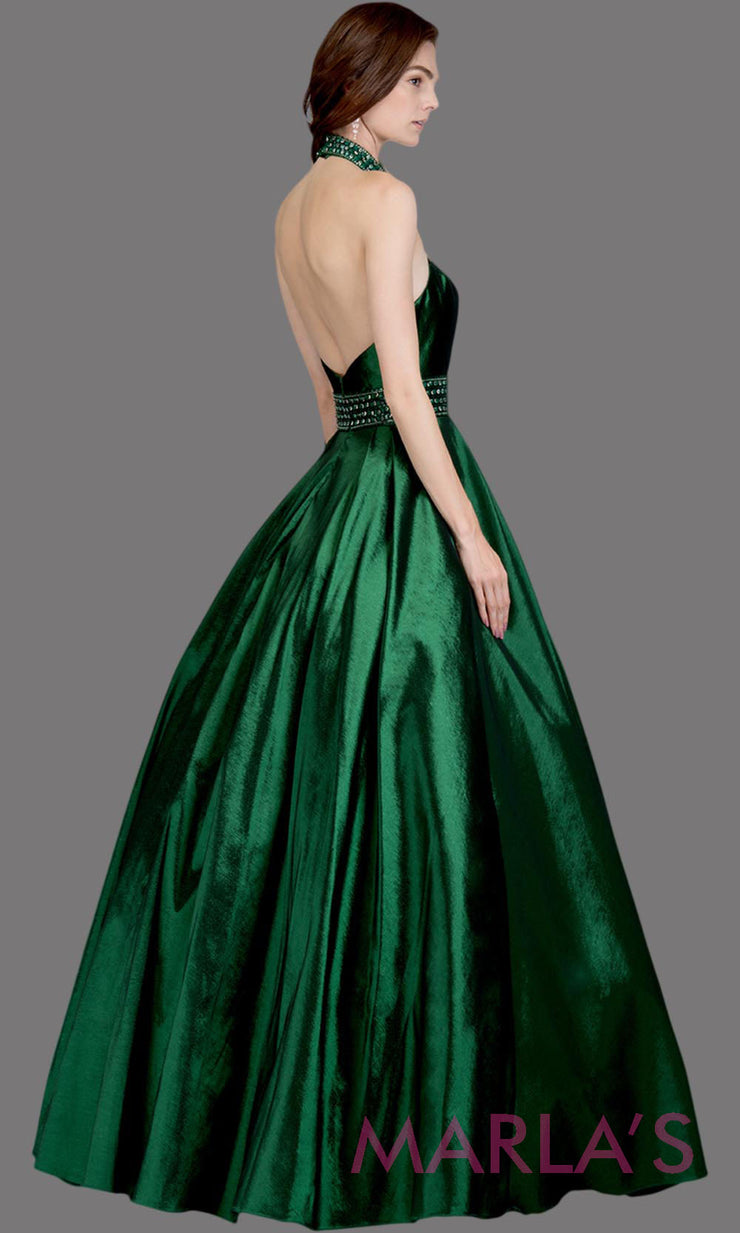 Back of Long emerald green high neck halter semi ball gown with low back. This dark green formal a line gown is perfect as a green prom dress, wedding reception or engagement dress, indowestern formal party gown, wedding guest dress. Plus Sizes avail