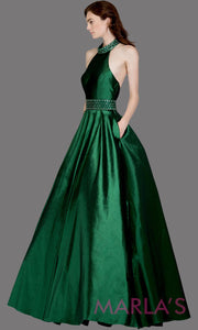 Long emerald green high neck halter semi ball gown with low back. This dark green formal a line gown is perfect as a green prom dress, wedding reception or engagement dress, indowestern formal party gown, wedding guest dress. Plus Sizes avail