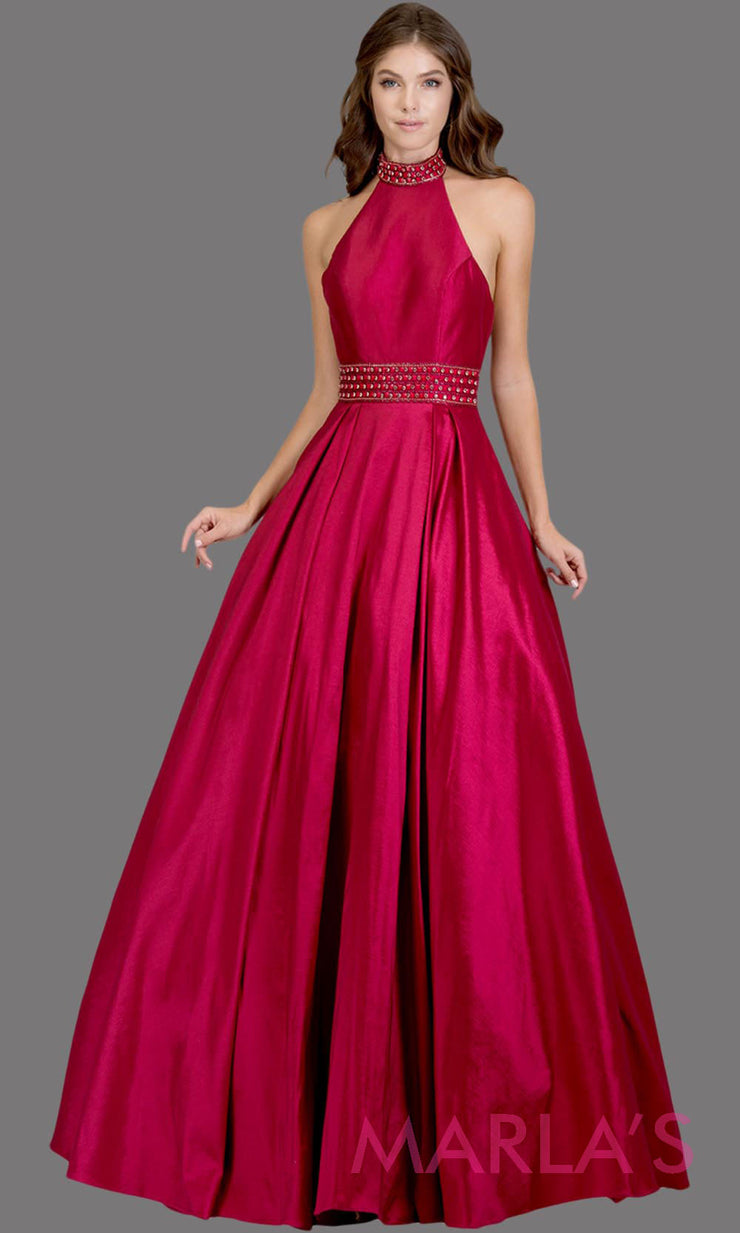 Long raspberry pink high neck halter semi ball gown with low back. This dark pink formal a line gown is perfect as a pink prom dress, wedding reception or engagement dress, indowestern formal party gown, wedding guest dress. Plus Sizes avail