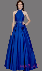 Long royal blue high neck halter semi ball gown with low back. This blue formal a line gown is perfect as a blue prom dress, wedding reception or engagement dress, indowestern formal party gown, wedding guest dress. Plus Sizes avail