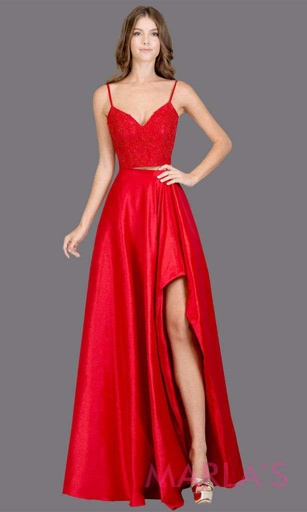 43cccc88faa Two piece long red prom dress. This simple satin taffeta 2 piece red dress  features ...