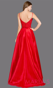Two piece long red prom dress. This simple satin taffeta 2 piece red dress features a high slit, lace top with straps. Perfect as a red prom dress,wedding reception or engagement dress, formal wedding guest dress, evening gown.Plus sizes avail