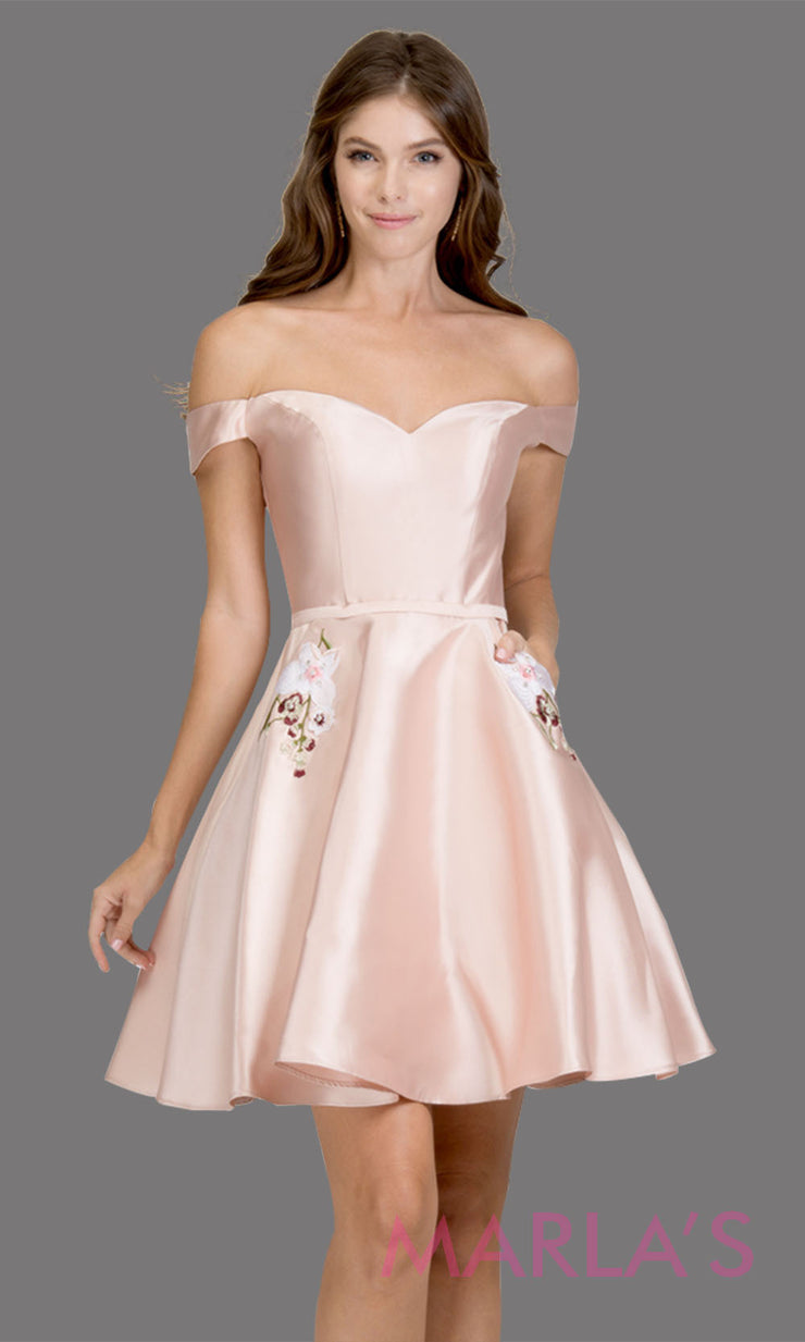 Short off shoulder satin taffeta blush pink grade 8 grad dress with pockets. This simple light pink graduation dress is great as quinceanera damas, sweet 16 birthday, bat mitzvah, confirmation, 8th grade, junior bridesmaid. Plus sizes avail
