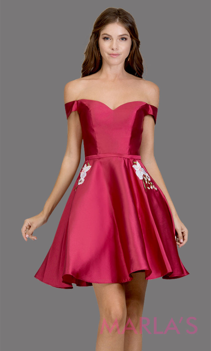 Short off shoulder satin taffeta burgundy red grade 8 grad dress with pockets. This simple dark red graduation dress is great as quinceanera damas, sweet 16 birthday, bat mitzvah, confirmation, 8th grade, junior bridesmaid. Plus sizes avail