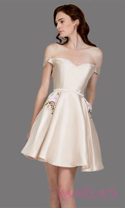 Short off shoulder satin taffeta champagne gold grade 8 grad dress w pockets. This simple light gold graduation dress is great as quinceanera damas, sweet 16 birthday, bat mitzvah, confirmation, 8th grade, junior bridesmaid. Plus sizes avail