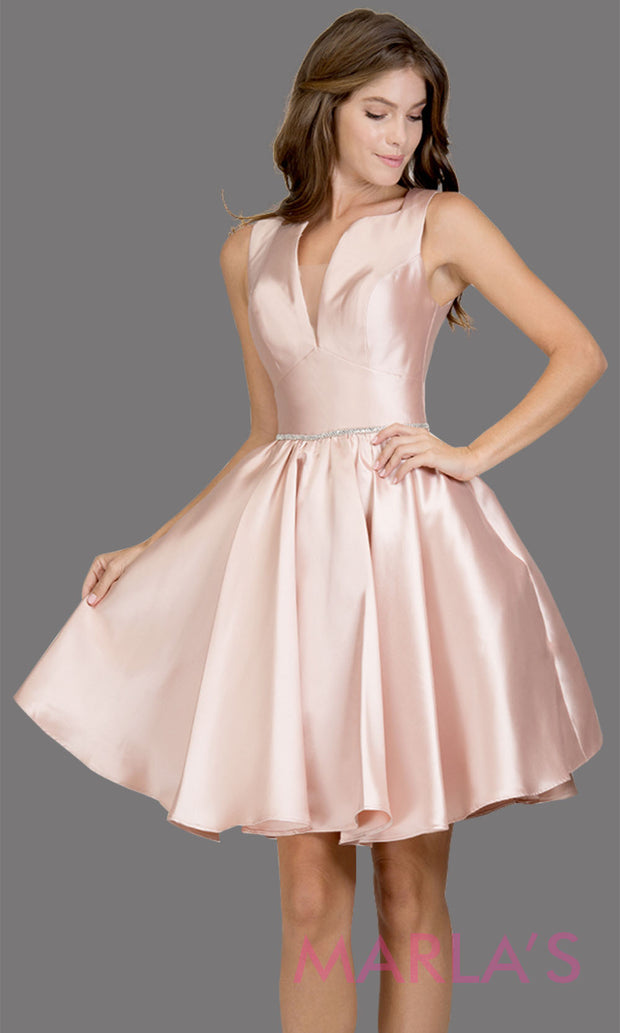 Short high neck satin taffeta blush pink grade 8 grad dress with deep v neck. This simple light pink graduation dress is great as quinceanera damas, sweet 16 birthday, bat mitzvah, confirmation, baby pink junior bridesmaid. Plus sizes avail