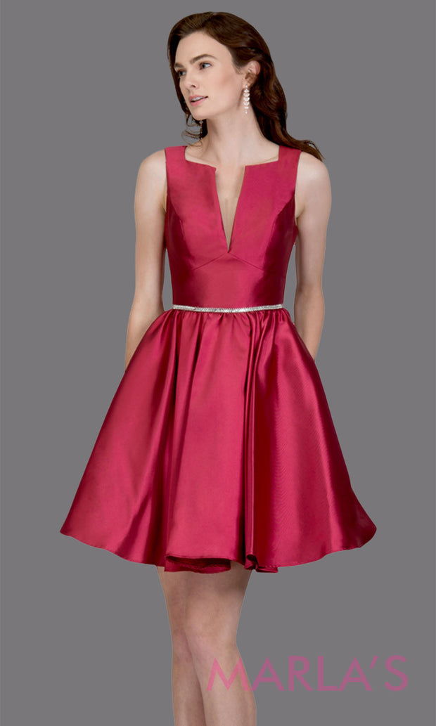 Short high neck satin taffeta burgundy red grade 8 grad dress with deep v neck. This simple dark red graduation dress is great as quinceanera damas, sweet 16 birthday, bat mitzvah, confirmation, maroon junior bridesmaid. Plus sizes avail