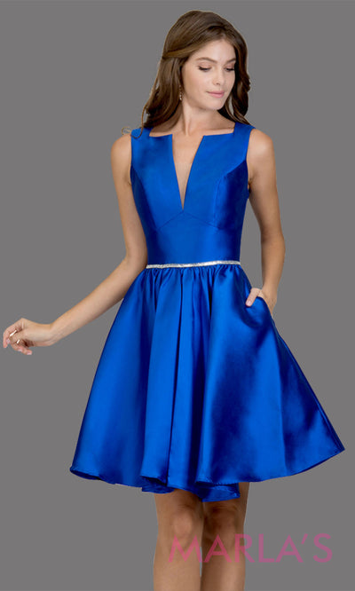 Short high neck satin taffeta royal blue grade 8 grad dress with deep v neck. This simple blue graduation dress is great as quinceanera damas, sweet 16 birthday, bat mitzvah, confirmation, royal blue junior bridesmaid. Plus sizes avail