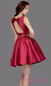 Short high neck satin taffeta burgundy red grade 8 grad dress with deep v neck.This simple dark red graduation dress is great as quinceanera damas, sweet 16 birthday, bat mitzvah, confirmation, maroon junior bridesmaid. Plus sizes avail