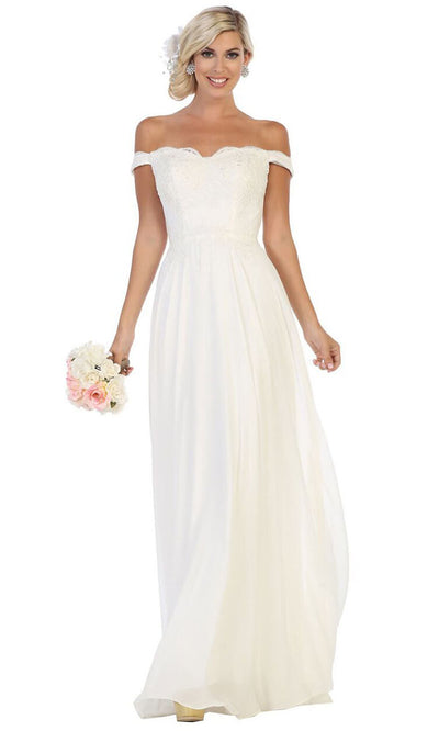 May Queen - MQ1644B Embroidered Off Shoulder A-Line Dress In White