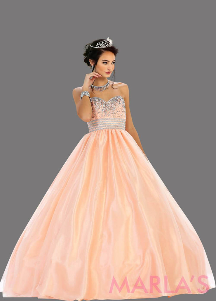 Long blush strapless princess quinceanera ball gown with rhinestone beading. Perfect for Engagement dress, Quinceanera, Sweet 16, Sweet 15 and pink Wedding Reception Dress. Available in plus sizes