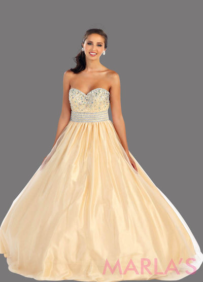Long champagne strapless princess quinceanera ball gown with rhinestone beading. Perfect for Engagement dress, Quinceanera, Sweet 16, Sweet 15 and light gold Wedding Reception Dress. Avail in plus sizes