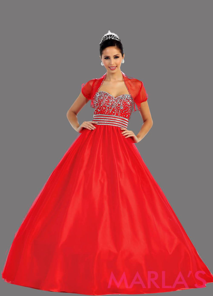 Long red strapless princess quinceanera ball gown with rhinestone beading. Perfect for Engagement dress, Quinceanera, Sweet 16, Sweet 15 and red Wedding Reception Dress. Available in plus sizes