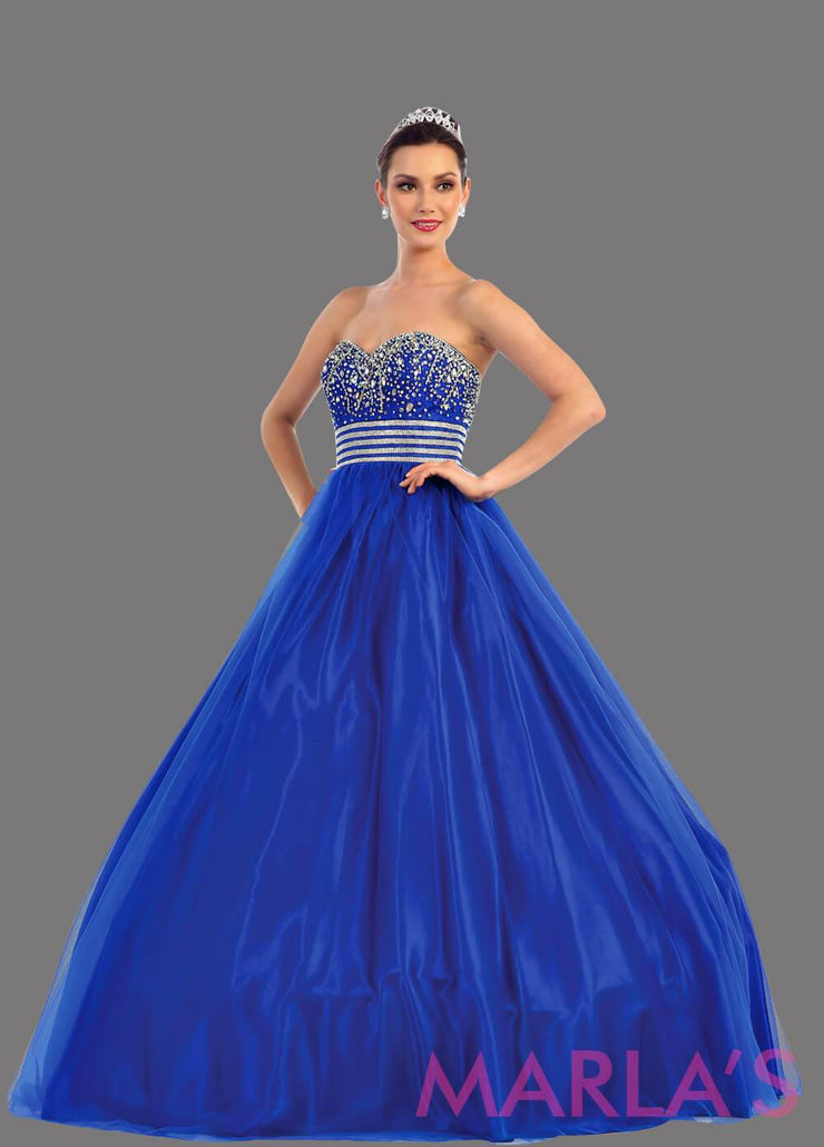 Long royal blue strapless princess quinceanera ball gown with rhinestone beading. Perfect for Engagement dress, Quinceanera, Sweet 16, Sweet 15 and Blue Wedding Reception Dress. Available in plus sizes