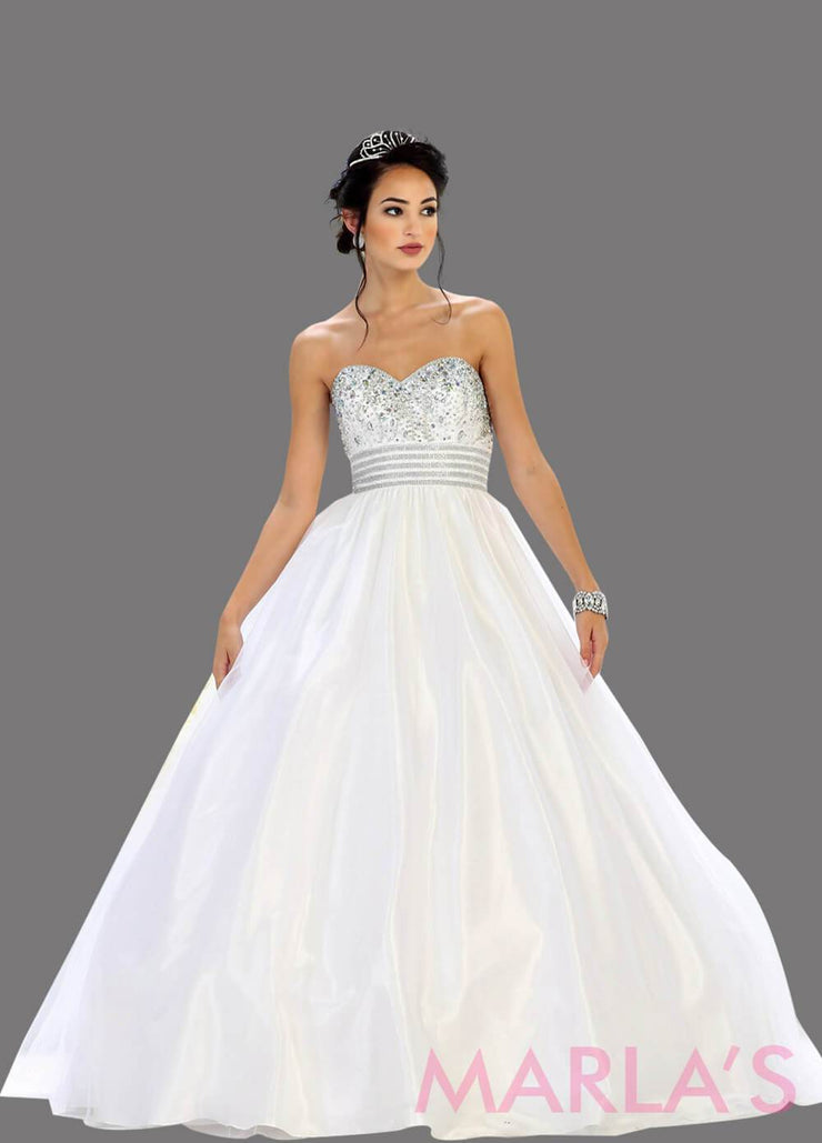 Long white strapless princess quinceanera ball gown with rhinestone beading. Perfect for Engagement dress, Quinceanera, Sweet 16, Sweet 15 and white Wedding Reception Dress. Available in plus sizes