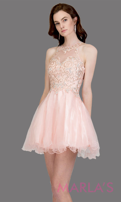Short high neck tulle blush pink grade 8 grad dress w sheer illusion back & lace. This simple light pink graduation dress is great as quinceanera damas, sweet 16 birthday, bat mitzvah, confirmation,junior bridesmaid,8th grade.Plus sizes avail