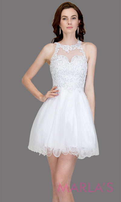 Short high neck tulle white grade 8 grad dress w sheer illusion back & lace. This simple white graduation dress is great as quinceanera damas, sweet 16 birthday, bat mitzvah, confirmation,junior bridesmaid, 8th grade. Plus sizes avail
