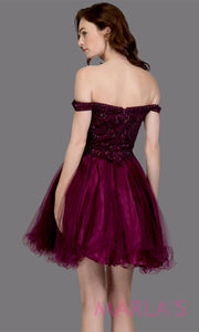 Back of Short off shoulder tulle purple grade 8 grad dress with same color lace. This simple dark purple graduation dress is great as quinceanera damas, sweet 16 birthday, bat mitzvah, confirmation, junior bridesmaid, 8th grade. Plus sizes avail