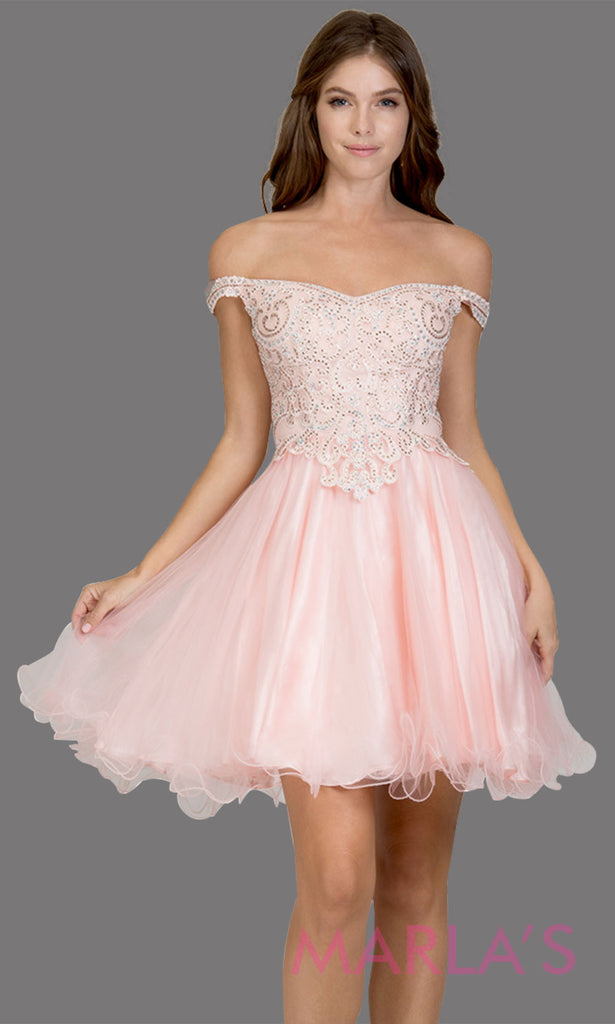 36b7a82430da Short off shoulder tulle blush pink grade 8 grad dress with same color lace.
