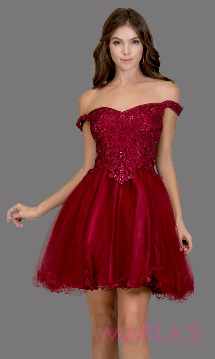 Short off shoulder tulle burgundy red grade 8 grad dress with same color lace. This simple dark red graduation dress is great as quinceanera damas, sweet 16 birthday, bat mitzvah, confirmation, junior bridesmaid, 8th grade. Plus sizes avail