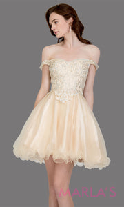 Short off shoulder tulle champagne gold grade 8 grad dress w same color lace. This simple light gold graduation dress is great as quinceanera damas, sweet 16 birthday, bat mitzvah, confirmation, junior bridesmaid, 8th grade. Plus sizes avail