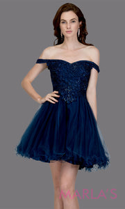 Short off shoulder tulle navy blue grade 8 grad dress with same color lace. This simple dark blue graduation dress is great as quinceanera damas, sweet 16 birthday, bat mitzvah, confirmation, junior bridesmaid, 8th grade. Plus sizes avail