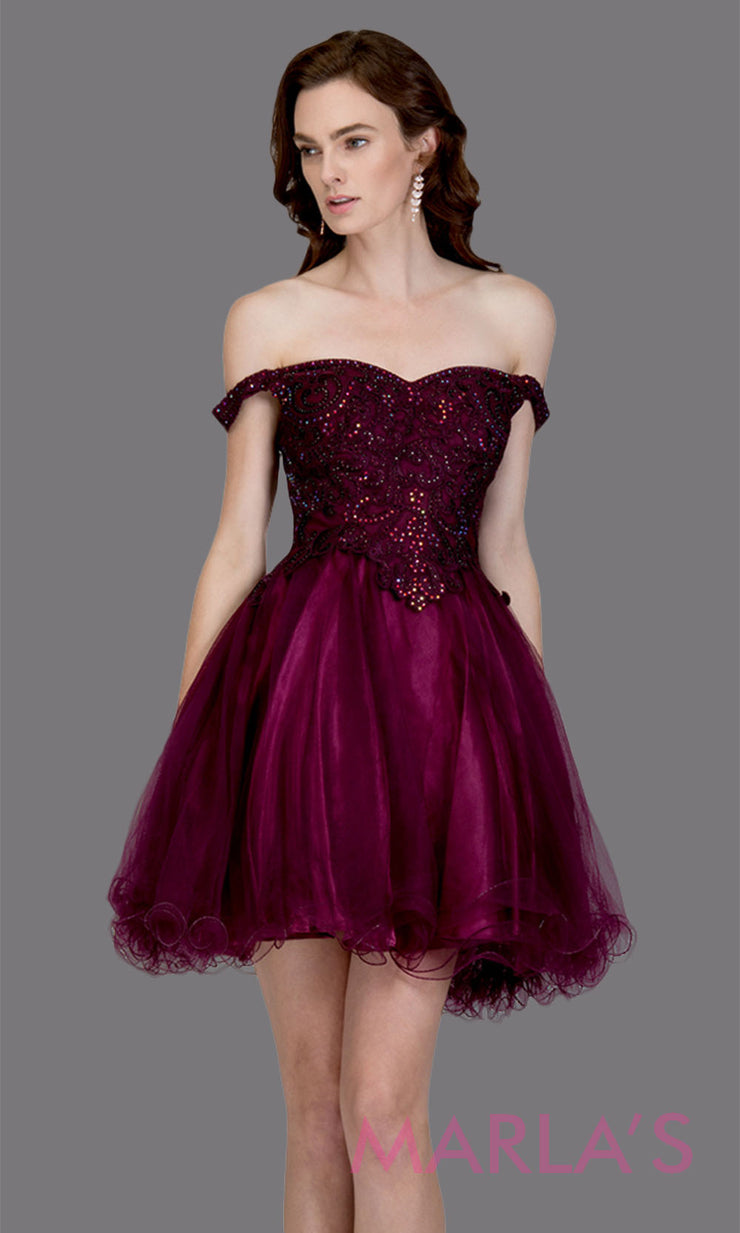 Short off shoulder tulle purple grade 8 grad dress with same color lace. This simple dark purple graduation dress is great as quinceanera damas, sweet 16 birthday, bat mitzvah, confirmation, junior bridesmaid, 8th grade. Plus sizes avail