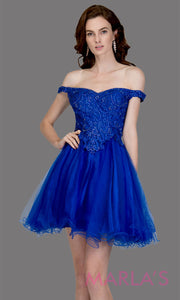 Short off shoulder tulle royal blue grade 8 grad dress with same color lace. This simple royal blue graduation dress is great as quinceanera damas, sweet 16 birthday, bat mitzvah, confirmation, junior bridesmaid, 8th grade. Plus sizes avail