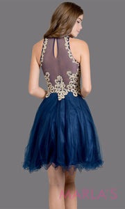 Back of Short high neck tulle navy blue grade 8 grad dress with gold lace. This simple dark blue puffy graduation dress is great as quinceanera damas, sweet 16 birthday, bat mitzvah, confirmation, junior bridesmaid, 8th grade. Plus sizes avail