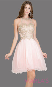 Short high neck tulle blush pink grade 8 grad dress with gold lace. This simple light pink puffy graduation dress is great as quinceanera damas, sweet 16 birthday, bat mitzvah, confirmation, junior bridesmaid, 8th grade. Plus sizes avail