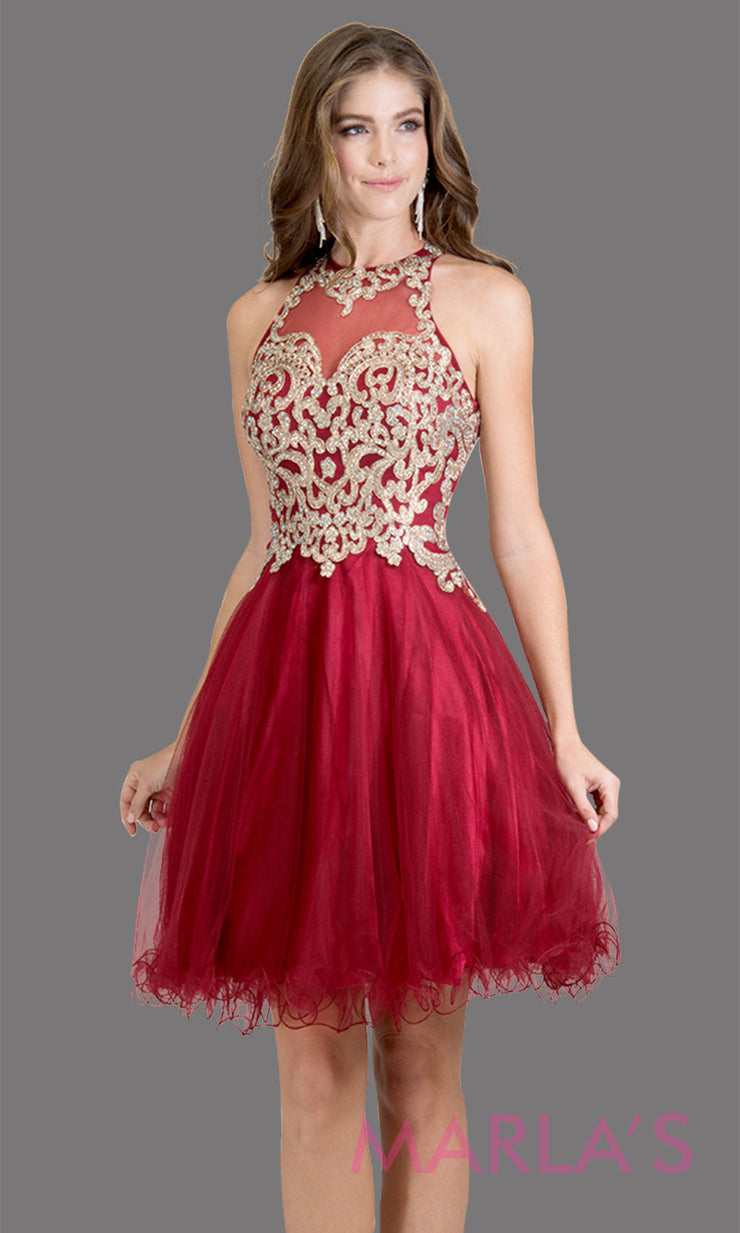 Short high neck tulle burgundy red grade 8 grad dress with gold lace. This simple dark red puffy graduation dress is great as quinceanera damas, sweet 16 birthday, bat mitzvah, confirmation, junior bridesmaid, 8th grade. Plus sizes avail