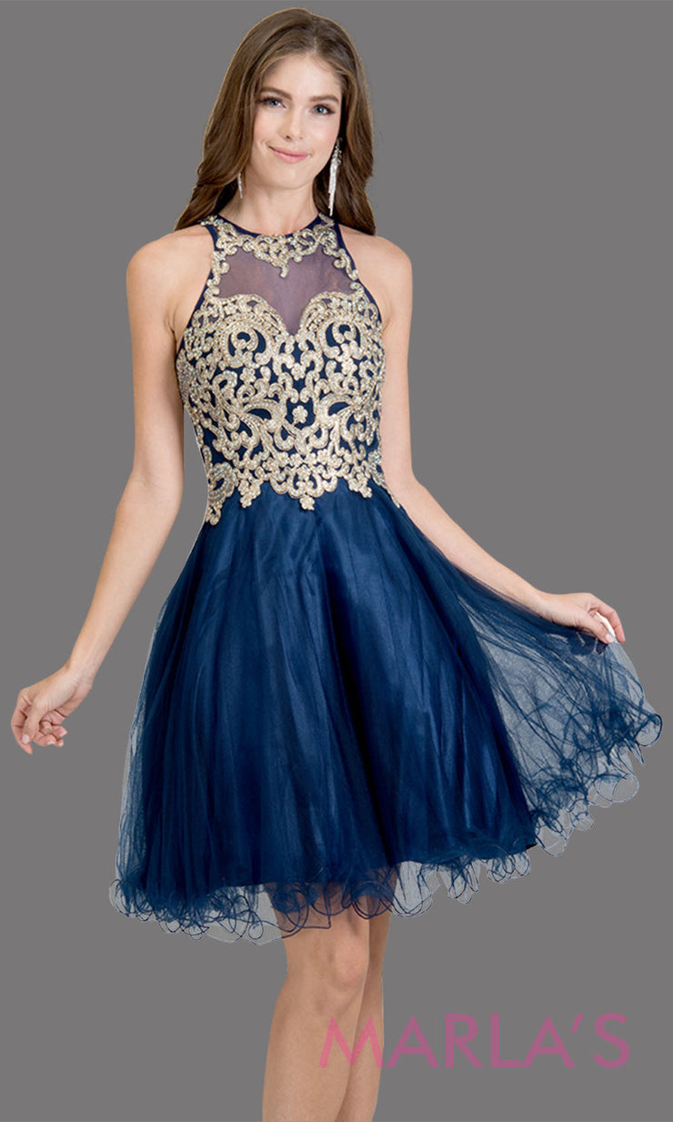 Short high neck tulle navy blue grade 8 grad dress with gold lace. This simple dark blue puffy graduation dress is great as quinceanera damas, sweet 16 birthday, bat mitzvah, confirmation, junior bridesmaid, 8th grade. Plus sizes avail