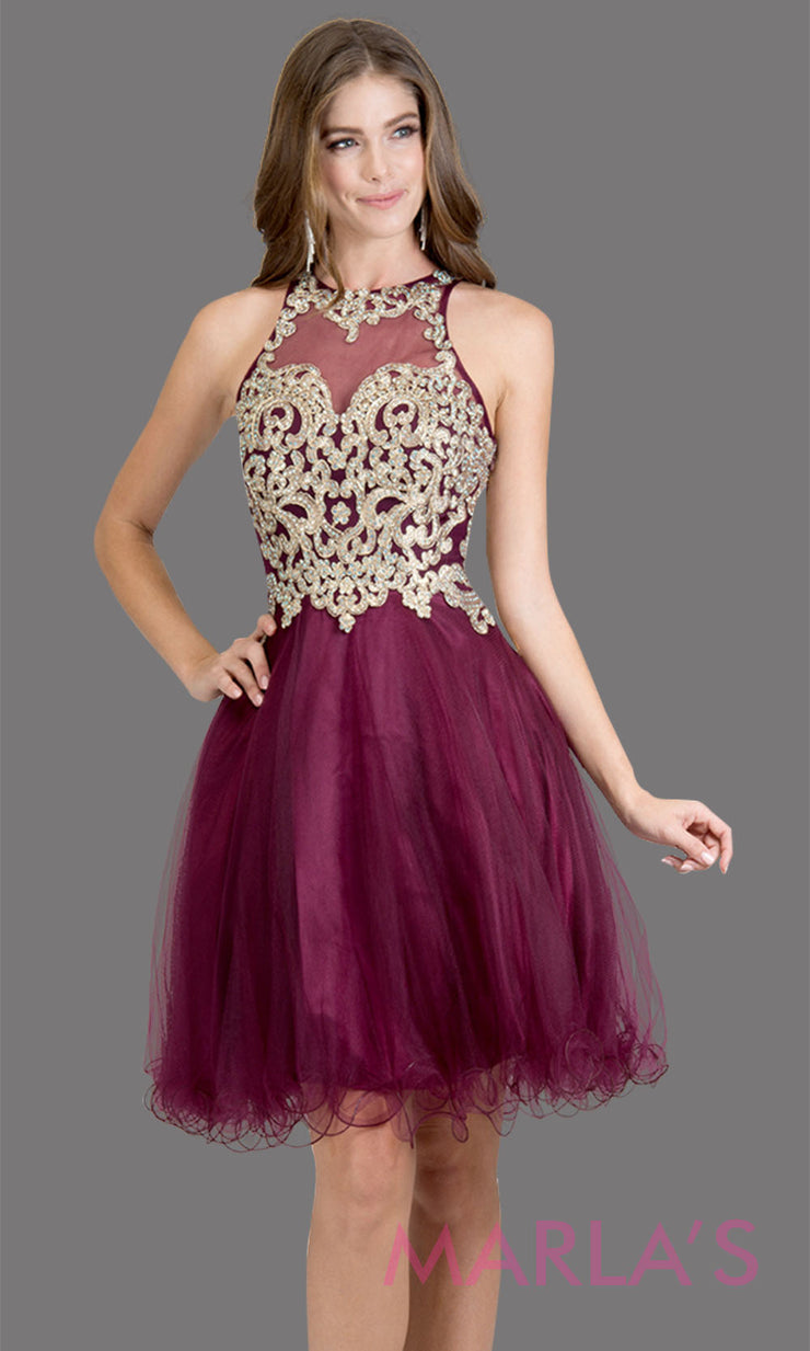 Short high neck tulle purple grade 8 grad dress with gold lace. This simple dark purple puffy graduation dress is great as quinceanera damas, sweet 16 birthday, bat mitzvah, confirmation, junior bridesmaid, 8th grade. Plus sizes avail