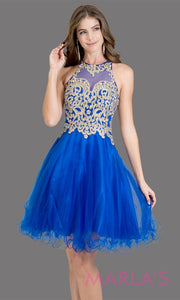 Short high neck tulle royal blue grade 8 grad dress with gold lace. This simple royal blue puffy graduation dress is great as quinceanera damas, sweet 16 birthday, bat mitzvah, confirmation, junior bridesmaid, 8th grade. Plus sizes avail