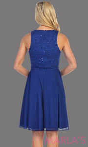Back of High neck flowy short dress with lace bodice and royal blue chiffon skirt. It has a rhinestone belt. Perfect for grade 8 grad, wedding guest dress, modest party dress, semi formal  dress. Available in plus sizes.
