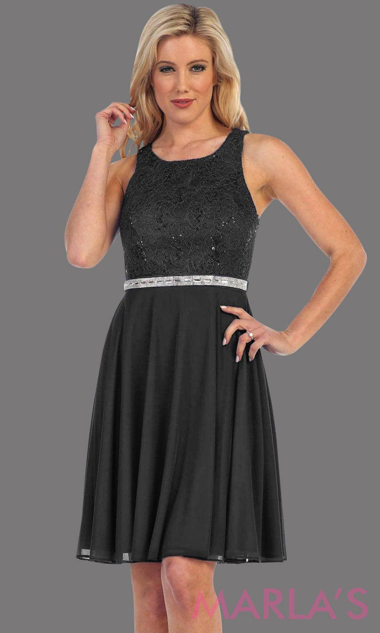 High neck flowy short dress with lace bodice and flowy black chiffon skirt. It has a rhineston belt. Perfect for grade 8 grad, wedding guest dress, modest party dress, semi formal  dress. Available in plus sizes.