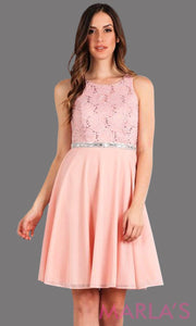 High neck flowy short dress with lace bodice and flowy pink chiffon skirt. It has a rhinestone belt. Perfect for grade 8 grad, wedding guest dress, modest party dress, semi formal  dress. Available in plus sizes.
