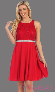 High neck flowy short dress with lace bodice and red chiffon skirt. It has a rhinestone belt. Perfect for grade 8 grad, wedding guest dress, modest party dress, semi formal  dress. Available in plus sizes.