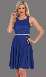 High neck flowy short dress with lace bodice and royal blue chiffon skirt. It has a rhinestone belt. Perfect for grade 8 grad, wedding guest dress, modest party dress, semi formal  dress. Available in plus sizes.