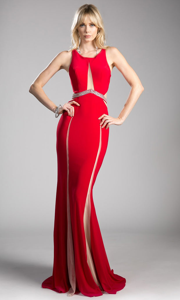 Cinderella Divine - 62806 Beaded Belt Sheath Dress In Red
