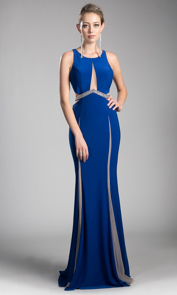 Cinderella Divine - 62806 Beaded Belt Sheath Dress In Blue
