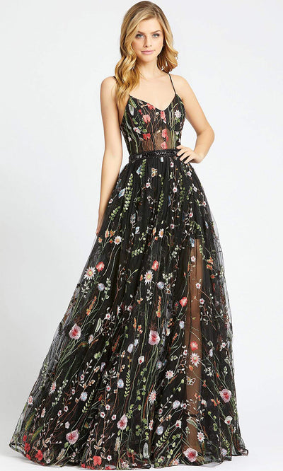 Mac Duggal - 62989L Floral Embroidery Sheer A-Line Gown In Black