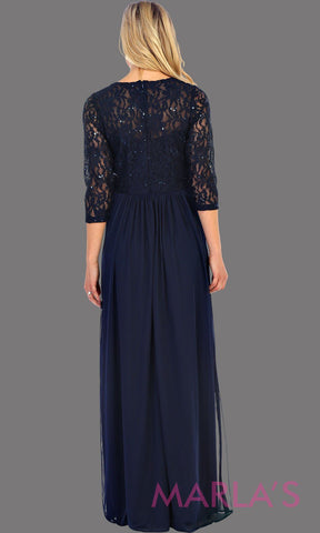 Long Navy Long Sleeve Lace Bodice Dress