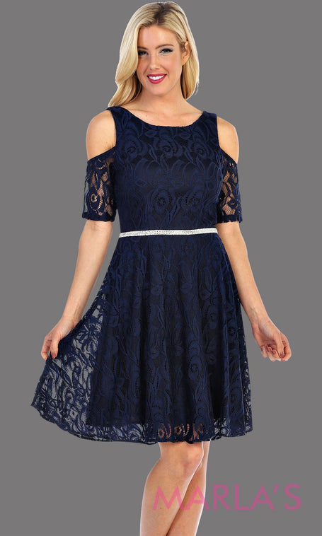 Short Navy Lace Dress With Exposed Shoulder