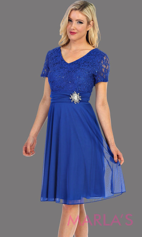 Short Royal Blue Lace Top Dress With Jewel Brooch